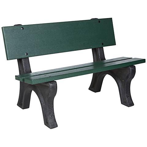 Omaha Satin Gray and Green Outdoor Depot Bench