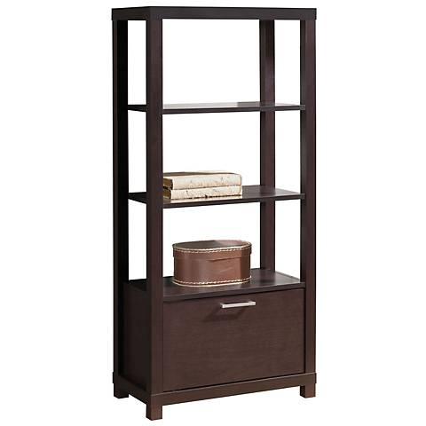 Carmeno 3-Shelf with Cabinet Espresso Bookcase