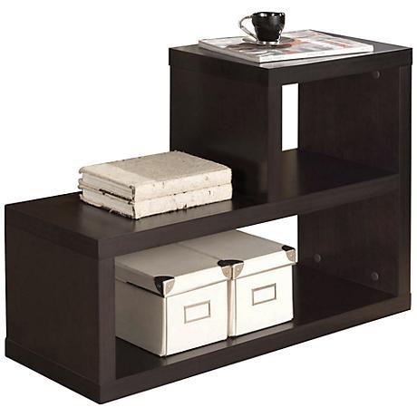 Carmeno L Shape Espresso Bookcase