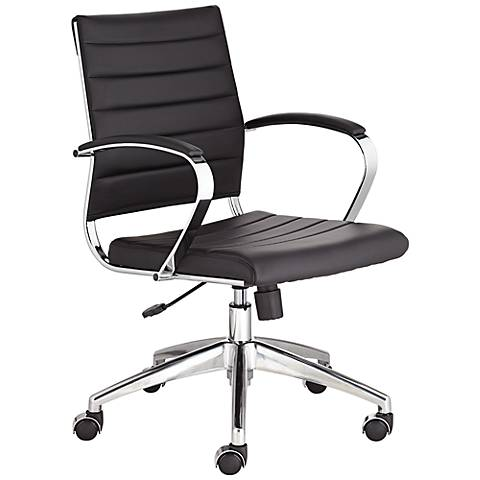 Medina Low Back Black Faux Leather Office Chair