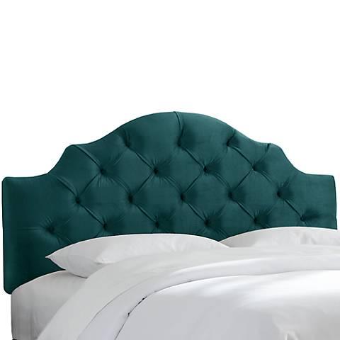 Mystere Peacock Tufted Fabric Headboard