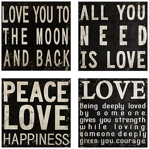Collier Black and White 4-Piece Quotes Wall Art Set