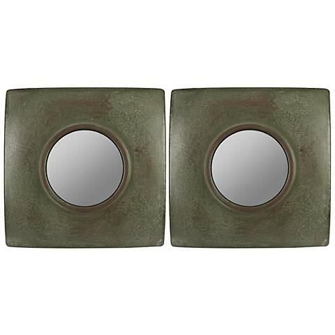 "Cooper Classics Jeremiah 11"" Square Wall Mirror Set of 2"