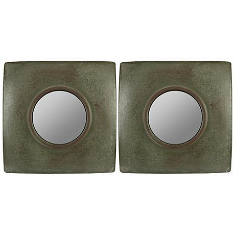 "Cooper Classics Jeremiah 11"" Square Wall Mirror Set of 2"