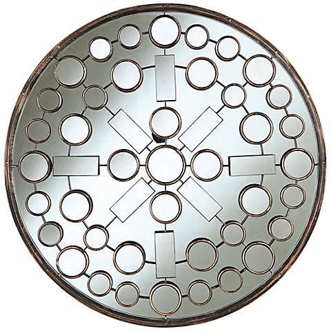 "Cooper Classics Marbella 31 1/2"" Round Wood Wall Mirror"