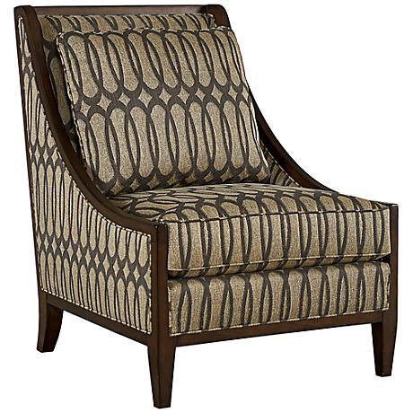 Intrigue Harper Mineral Ogee Patterned Accent Chair