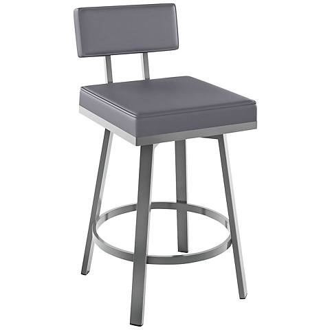"Amisco Staten Pewter 30"" Magnetite Glossy Gray Bar Stool"