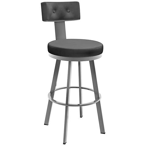 """Amisco Tower Ink 30"""" Magnetite Glossy Gray Bar Stool"""