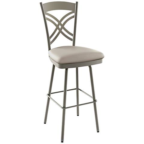 "Amisco Chain Oyster 26"" Titanium Warm Gray Counter Stool"