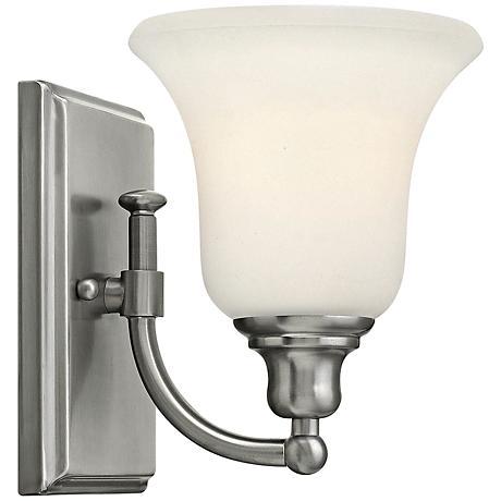 colette 8 1 4 high brushed nickel wall sconce 5v745 lamps plus. Black Bedroom Furniture Sets. Home Design Ideas
