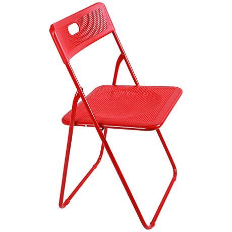 Honeycomb Red Metal Indoor-Outdoor Folding Chair