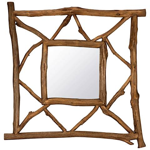 "Cooper Classics Westin 40 3/4"" Square Wood Wall Mirror"