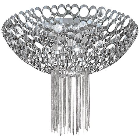 """Cameo Collection 23 1/2"""" Wide Polished Nickel Ceiling Light"""