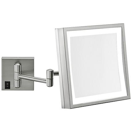 """Aptations Brushed Nickel 8"""" Wide LED Plug-In Vanity Mirror"""