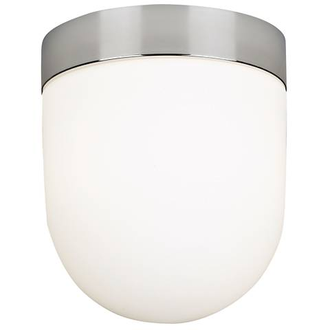 """Polished Nickel-White Glass 7 1/2"""" Wide Ceiling Fixture"""