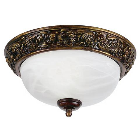"""Florentine Bronze and White Glass 11"""" Wide Ceiling Light"""