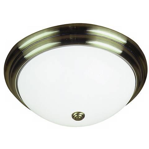 "Antique Brass 16"" Wide Circline Bulb Ceiling Light"