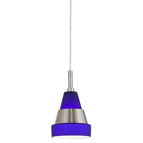 Frosted Blue Glass GU24 Bulb Mini Pendant