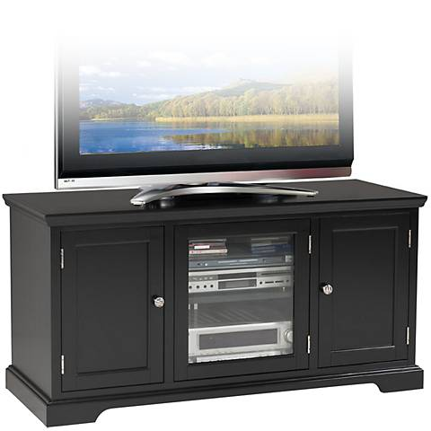 "Leick Raised Panel 3-Door Black 50"" TV Stand"