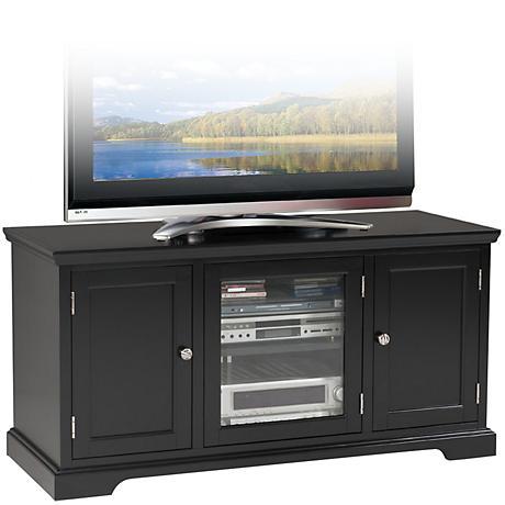 "Leick Raised Panel 3-Door Black 50"" TV Stand"