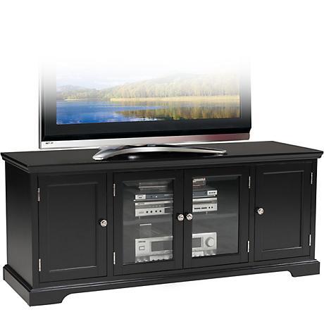 "Leick Raised Panel 4-Door Black 60"" TV Stand"