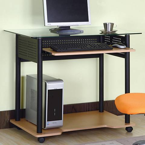 Avis Black Powdercoat and Maple Computer Cart