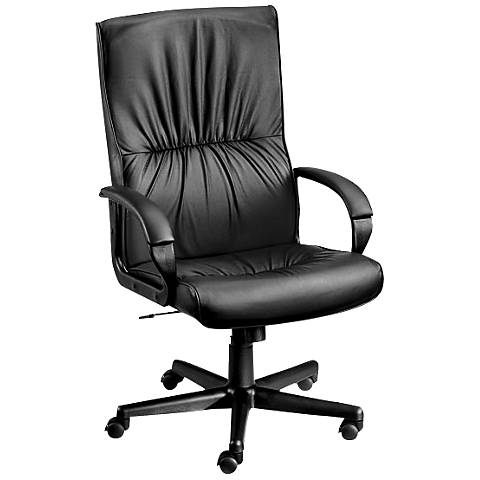 Mayor High-Back Ergonomic Black Leather Task Chair