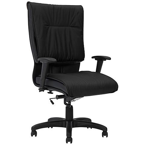 Saddle Black Leather High-Back Office Chair