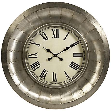 """Mesick 33 1/4"""" Round Aluminum Clock"""