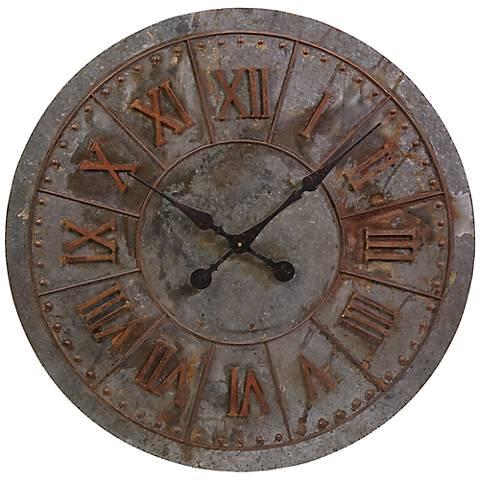"""Gilbert 32"""" Round Galvanized Wall Clock"""