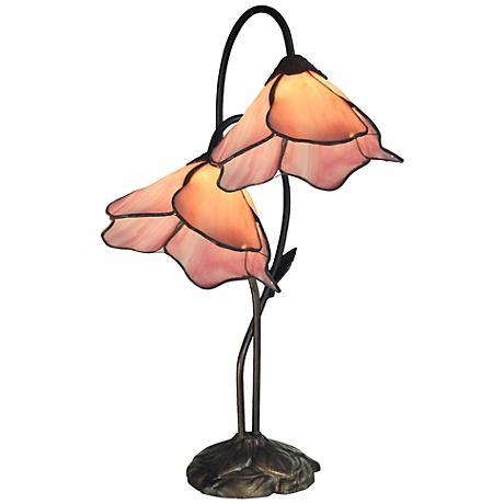 Dale Tiffany Poelking Pink Lily Glass 2-Light Desk Lamp