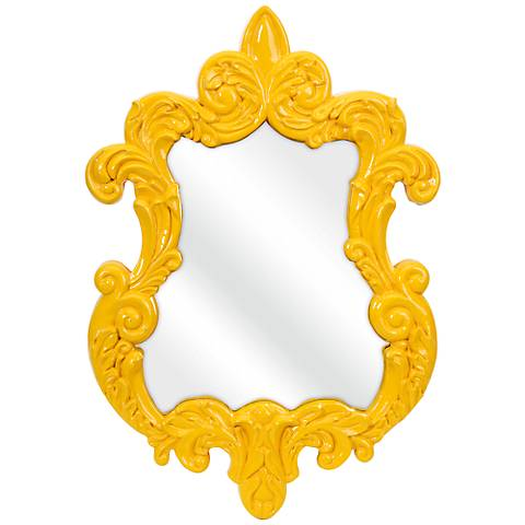 "Finely Yellow Baroque 21"" x 30"" Framed Wall Mirror"