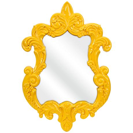 """Finely Yellow Baroque 21"""" x 30"""" Framed Wall Mirror"""