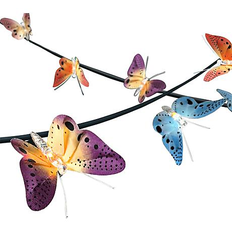 Fiber Optic Blossom Led String Lights Plug In Multi Color : Spring Butterfly 14-Foot Fiber Optic LED String Light - #5X063 Lamps Plus