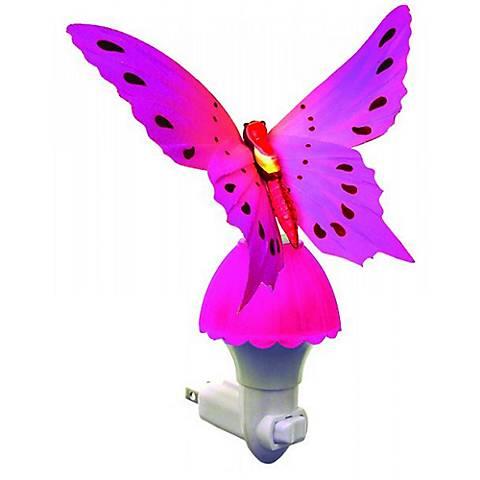 Butterfly Pink Fiber Optic LED Night Light