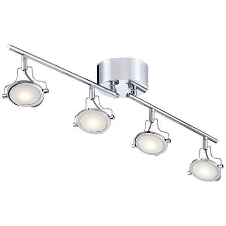 Pro Track Halo Chrome 4 Light LED Track Fixture 5X221 Lamps Plus