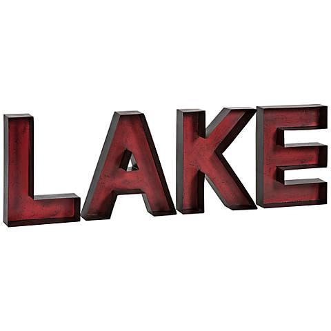 "Lake 34"" Wide Metal Letters Wall Art"