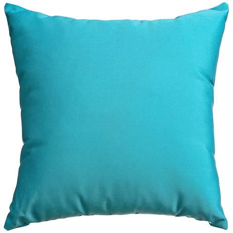 """Sunbrella® Aruba Blue 18"""" Square Indoor-Outdoor Pillow"""