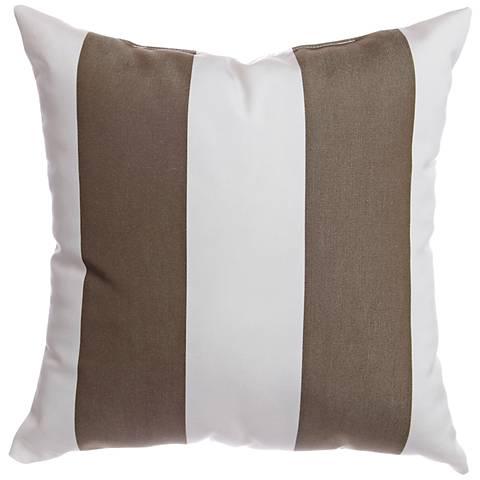 """Sunbrella® Striped Cocoa 18"""" Square Indoor-Outdoor Pillow"""