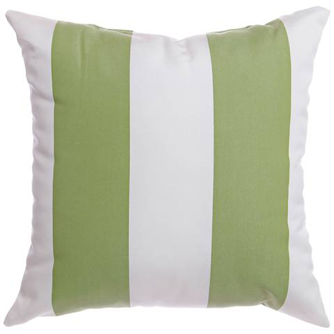"Sunbrella® Striped Natural Ginko 18"" Square Outdoor Pillow"