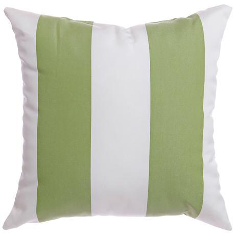 """Sunbrella® Striped Natural Ginko 18"""" Square Outdoor Pillow"""