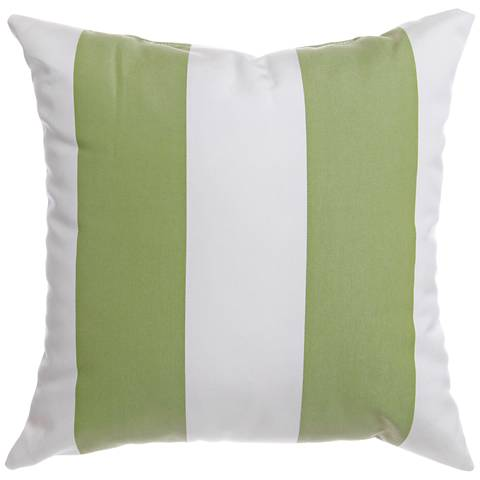 "Sunbrella® Striped Natural Ginko 20"" Square Outdoor Pillow"