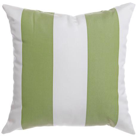 """Sunbrella® Striped Natural Ginko 20"""" Square Outdoor Pillow"""
