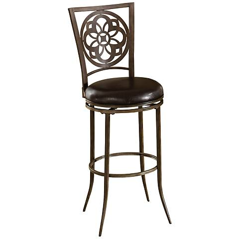 "Hillsdale Madeira Laser-Cut Gray 26"" Swivel Counter Stool"