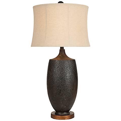 Ari Hammered Aged Black Table Lamp