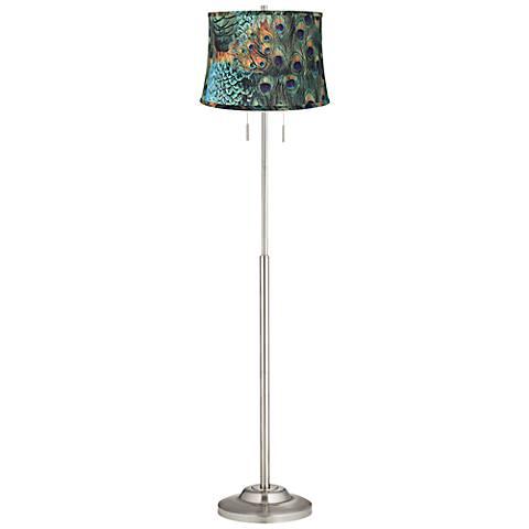 Abba Peacock Print Twin Pull Chain Floor Lamp