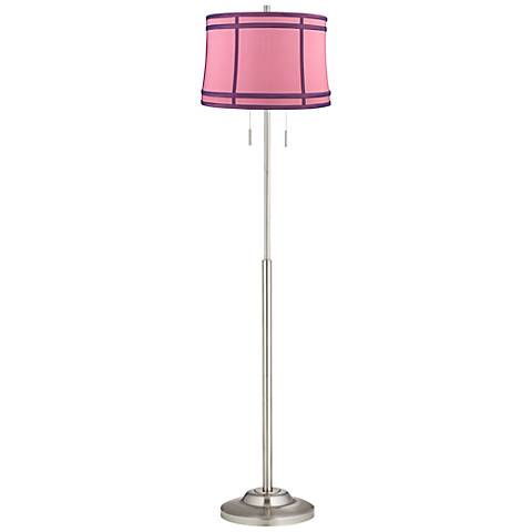 Abba Hot Pink Colorblock Twin Pull Chain Floor Lamp