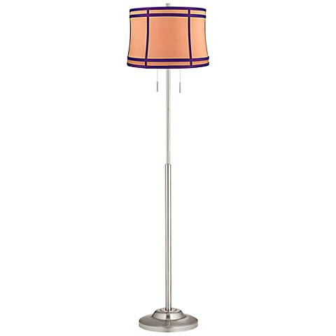 Abba Orange Colorblock Twin Pull Chain Floor Lamp