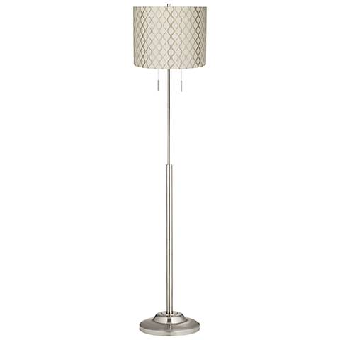 Abba Embroidered Hourglass Twin Pull Chain Floor Lamp