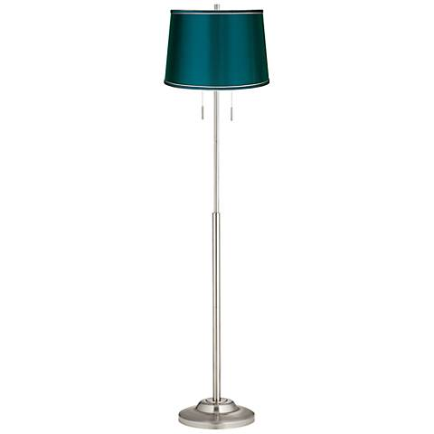 Abba Satin Teal Blue Drum Twin Pull Chain Floor Lamp